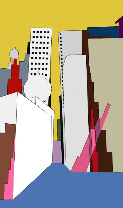 "Building Blocks, 2013  18"" X 28""  Acrylic on canvas"