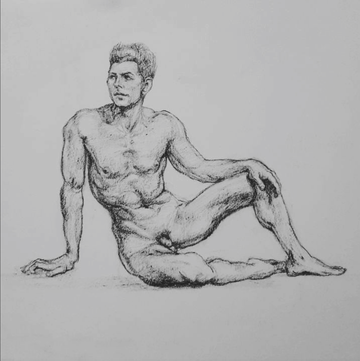 Sketched in 2015.  ~  A wrestler,  image sourced online.