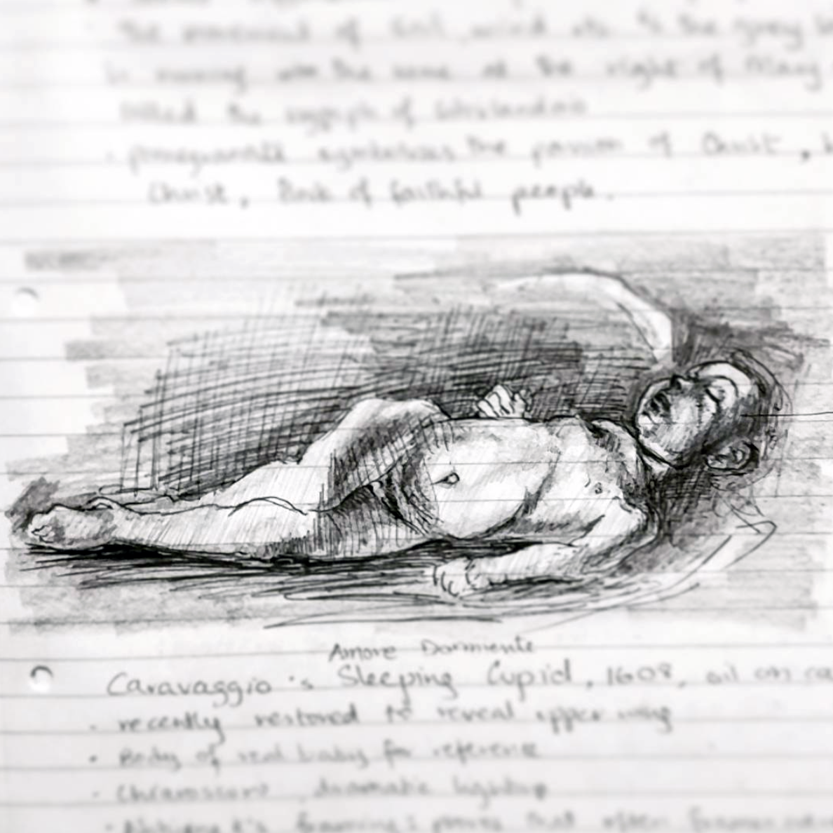 Sketched in 2015.  ~  Sleeping Cupid,  by Caravaggio, oil painting,  in Palazzo Pitti, Florence, Italy.