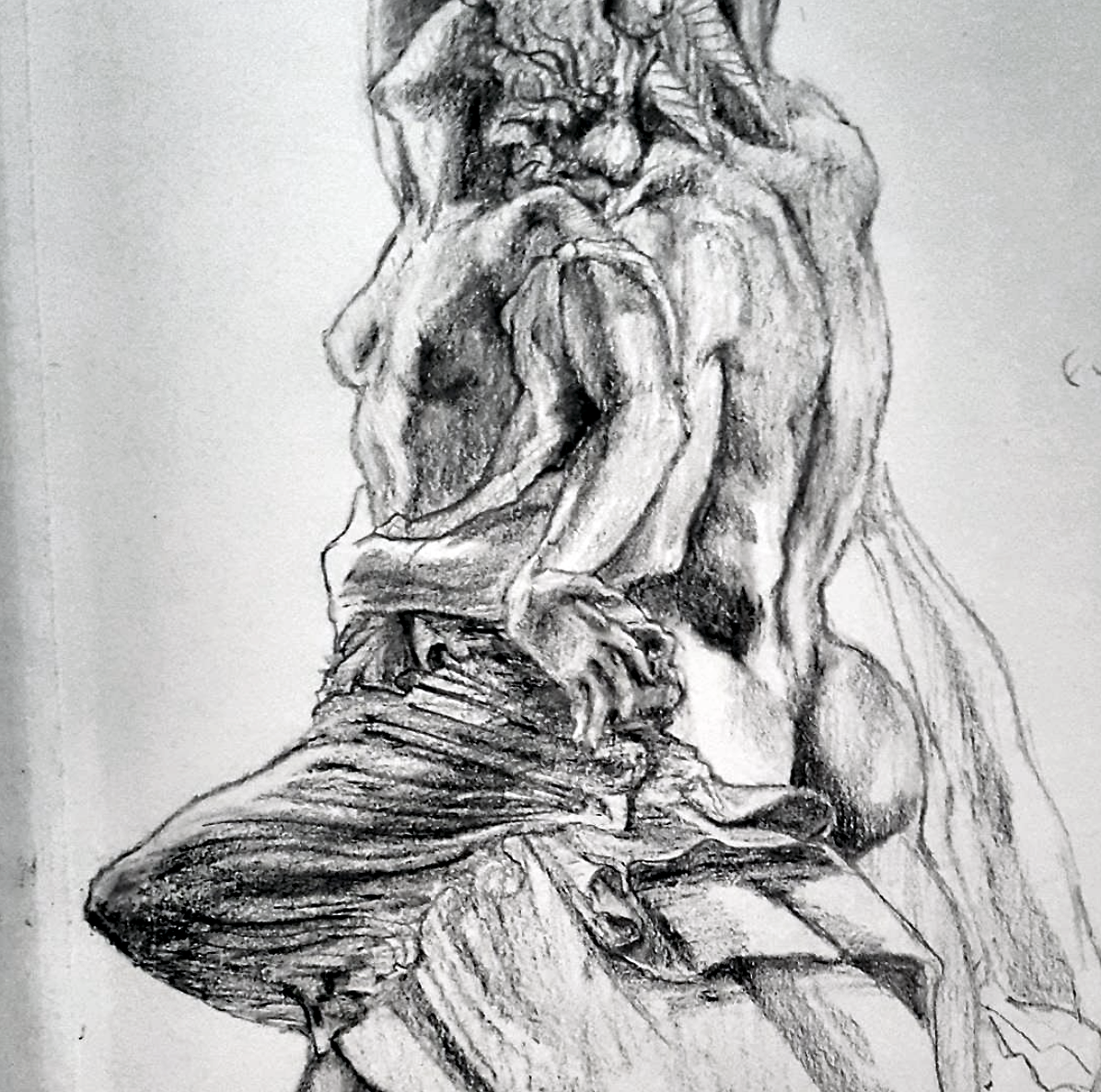 Sketched in 2016.  ~  The Rape of Polyxena (sketched from behind),  sculpture by Pio Fedi, in Loggia Dei Lanzi,  Piazza Della Signoria, Florence, Italy.