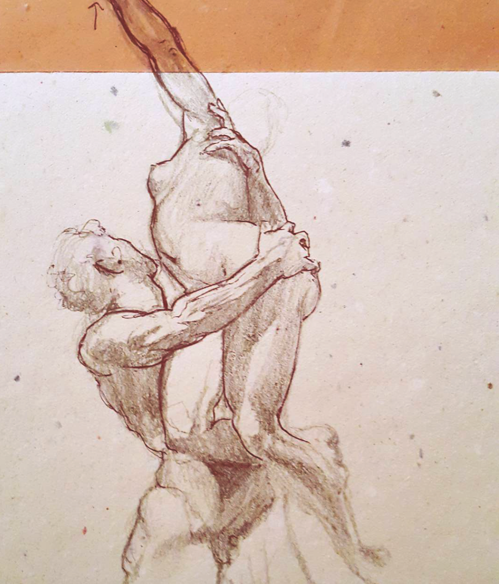 Sketched in 2015.  ~  The Rape of the Sabine Women,  by Giambologna, in Loggia Dei Lanzi,  Piazza Della Signoria, Florence, Italy.