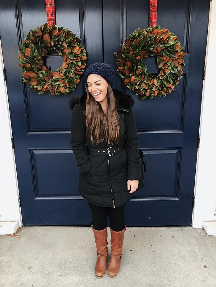 zara Coat ( similar here ) //  leggings  //  frye boots  //  madewell tote  (also  here ) //  beanie
