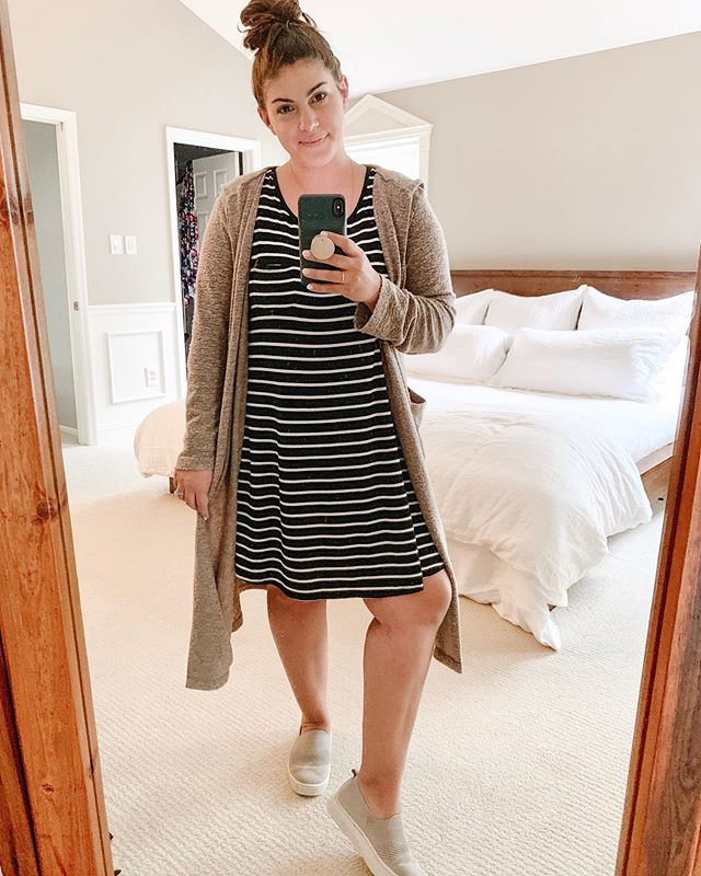 "My favorite ""easy"" look - tshirt dress, long cardigan or kimono, comfy shoes, topknot 👌🏼 It's comfy enough for my mom duties while making me feel a little more pulled together than my usual yoga pants for running errands 🤣  What's your easy go-to outfit?! This dress is an oldie but sharing lots of similar options for you today with @liketoknow.it 💕 If you don't have the app but like what you see me sharing on here, you really should try it out! The app is free and is by far the easiest way to shop the items I post! 👏🏼 http://liketk.it/2CH2e #liketkit #LTKsalealert #LTKstyletip #LTKunder50 #LTKunder100"