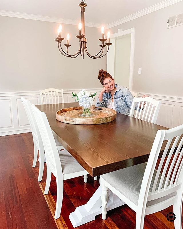 our dining room got a little makeover with this light fixture (thanks for our friends at @hoffmannbros) and i'm pretty much in love 😍 i'm sharing all the sources to this room and more about how the heck to choose a chandelier on the blog today and why a home protection plan is worth every penny... happy friday! 💕 http://liketk.it/2CVU9 @liketoknow.it #liketkit #LTKhome #LTKsalealert
