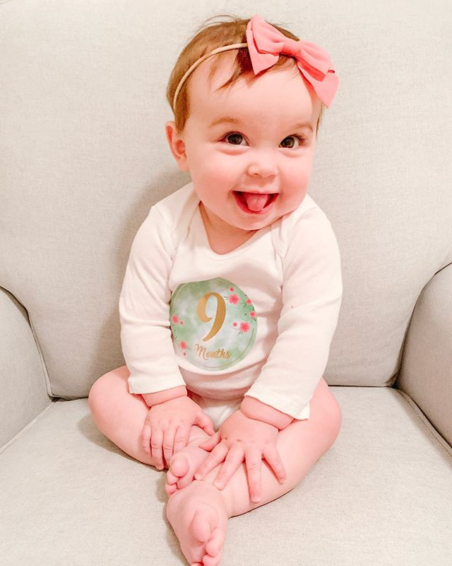 "somehow she's 9️⃣ months today and i'm not okay with it 😭 time slow down, please! 🙏🏼 the question we get most about kennedy is whether she really is as happy as she always seems in pictures and the answer is YES! we were actually filling in some pages in her baby book last night and each month it has a spot for ""i don't like""... we honestly couldn't come up with anything better than ""being tired"" or ""mommy passing me off to a stranger"" ❤️ she's the happiest, sweetest, most easy-going baby and we are so so blessed to be her parents. this month has been so fun to see her start moving around so much and i'm certain she's going to take off any day now..."