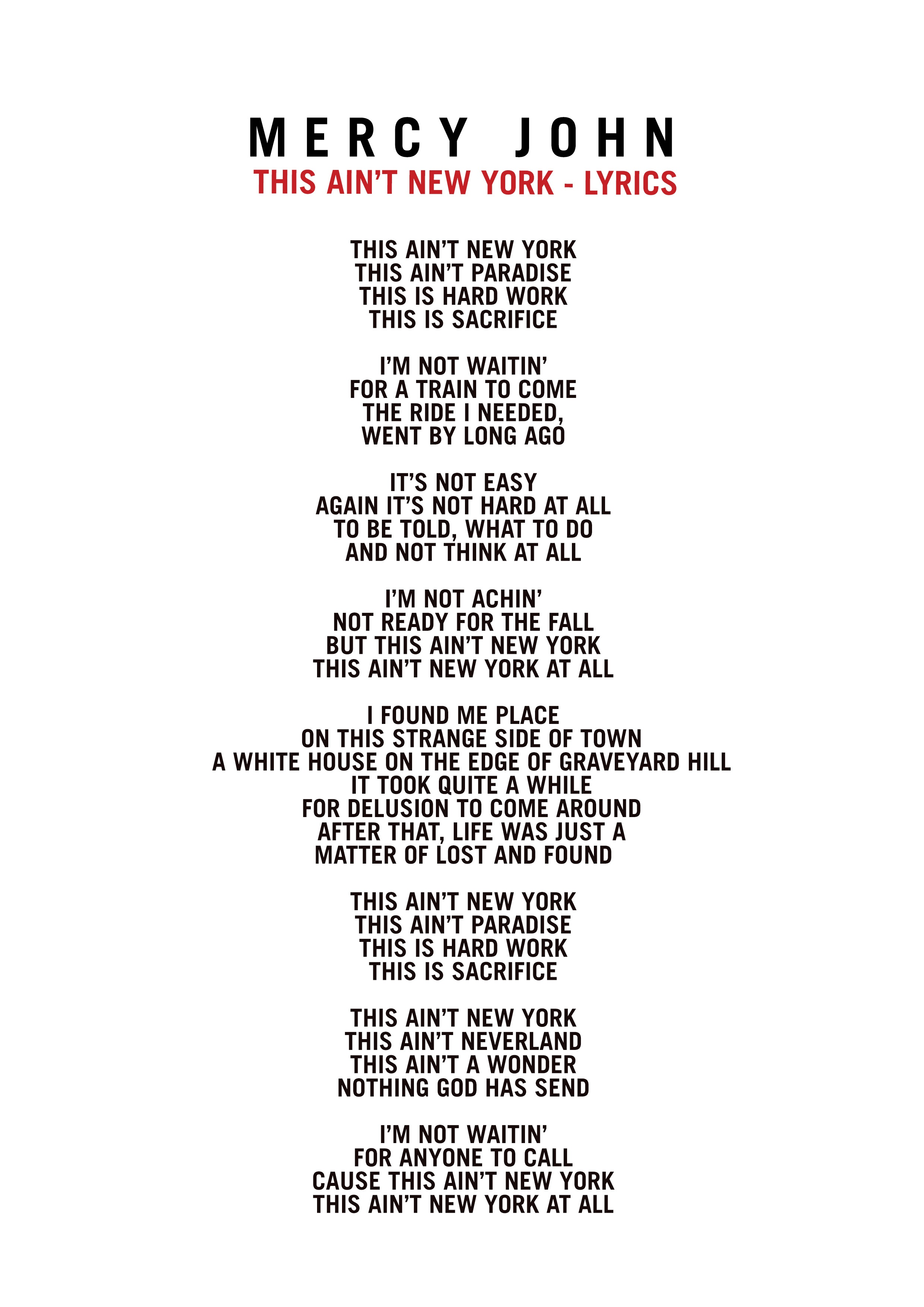 Lyrics — Mercy John