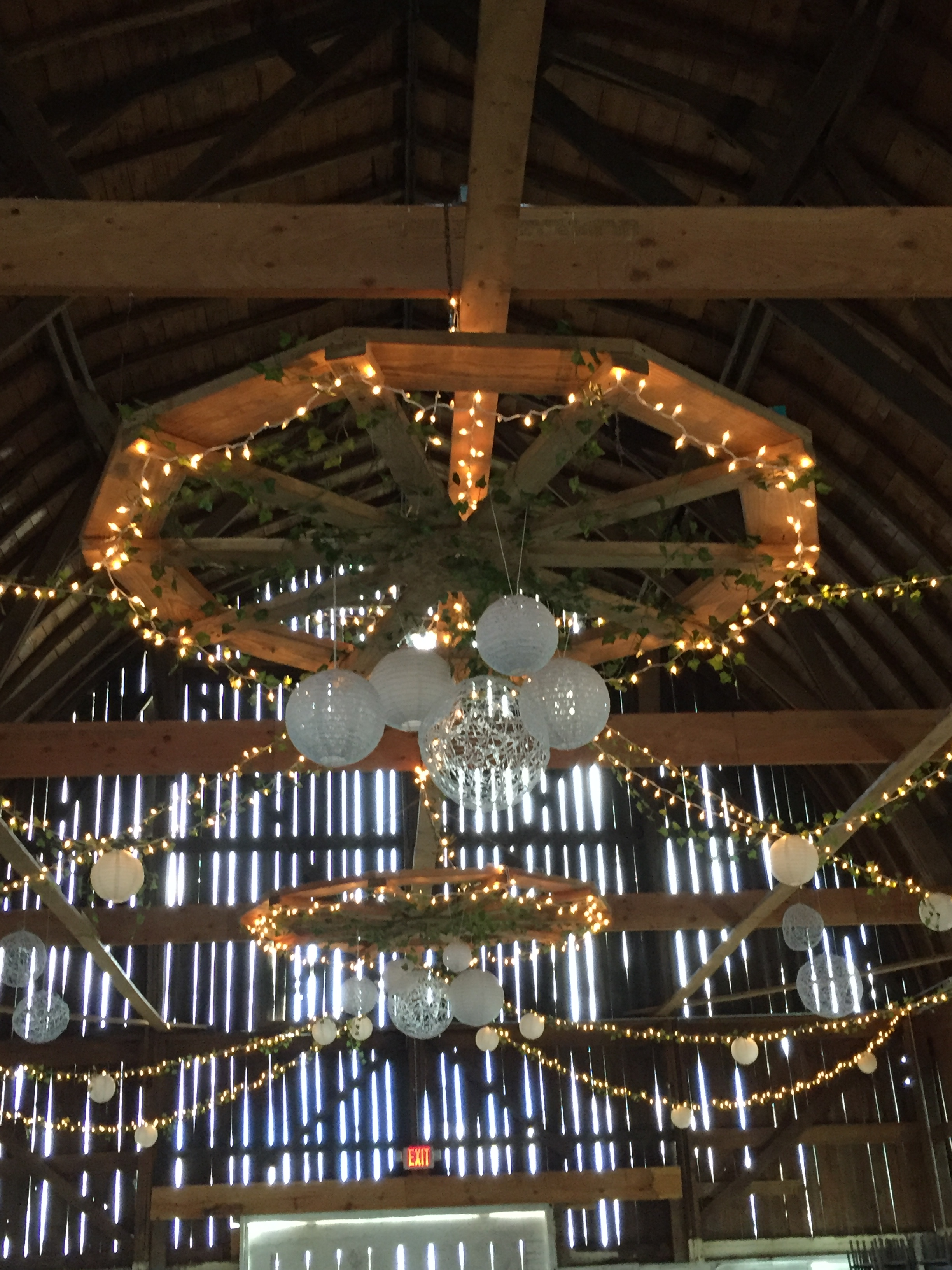 Large barn ceiling view