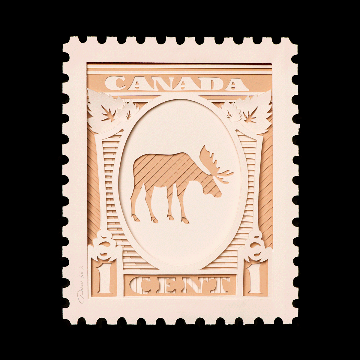 Canada Stamps; 1 Cent Moose, gold