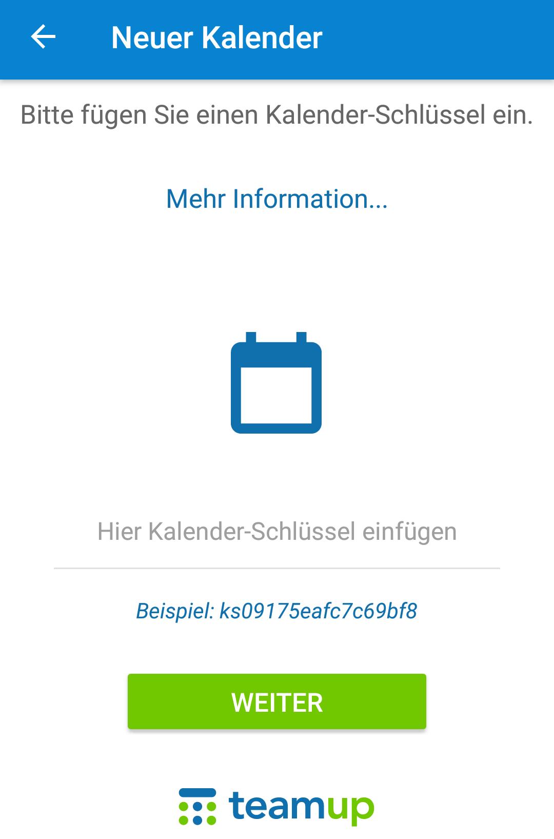 Um einen Kalender in der App hinzuzufügen markiert und kopiert ihr bitte den Kalender-Schlüssel und fügt diesen in der App wieder ein.