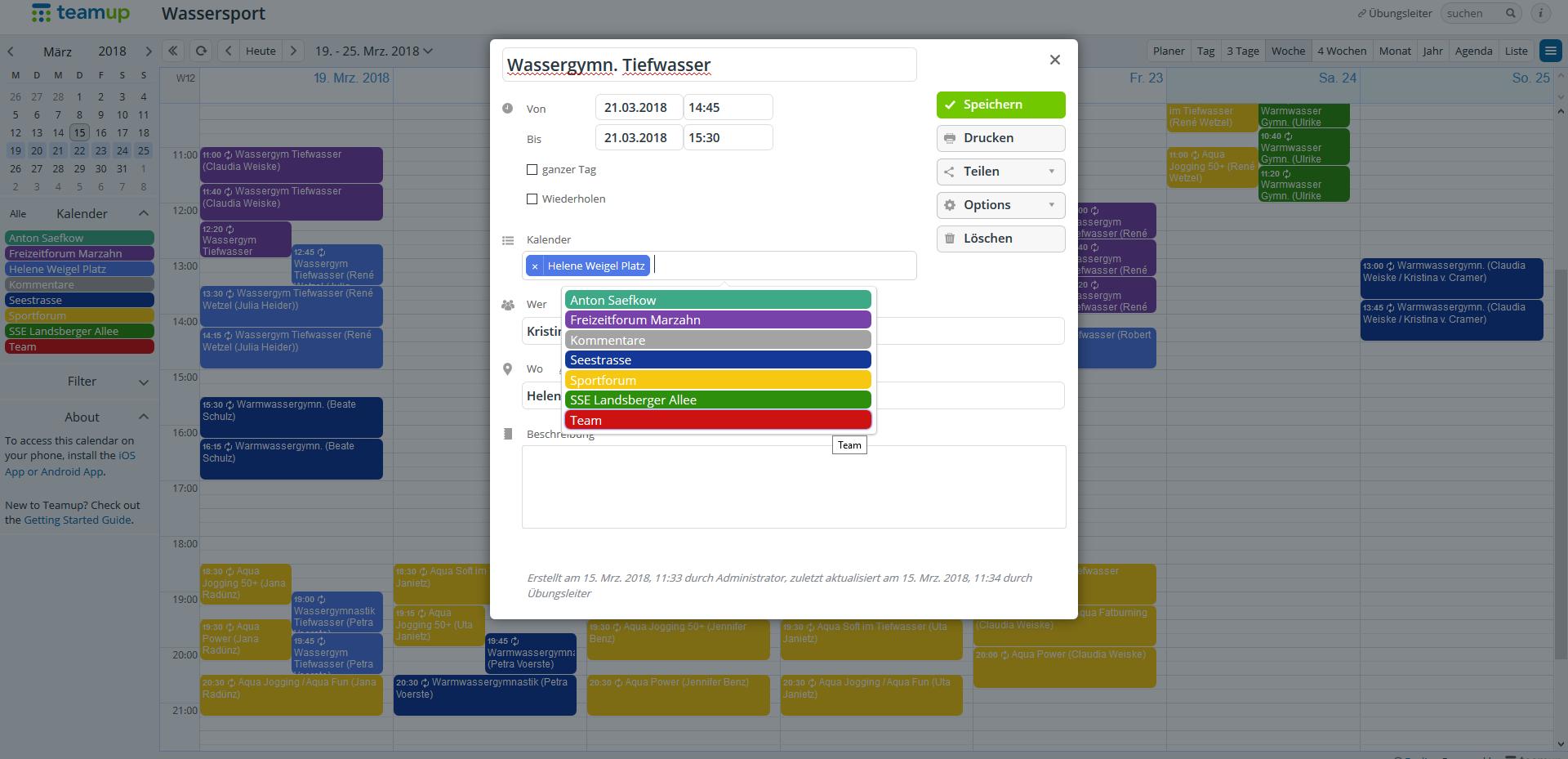 """In der Detailansicht klickt ihr in der Kalenderauswahl, rechts neben den bestehenden Kalender und wählt """"Team"""" aus."""