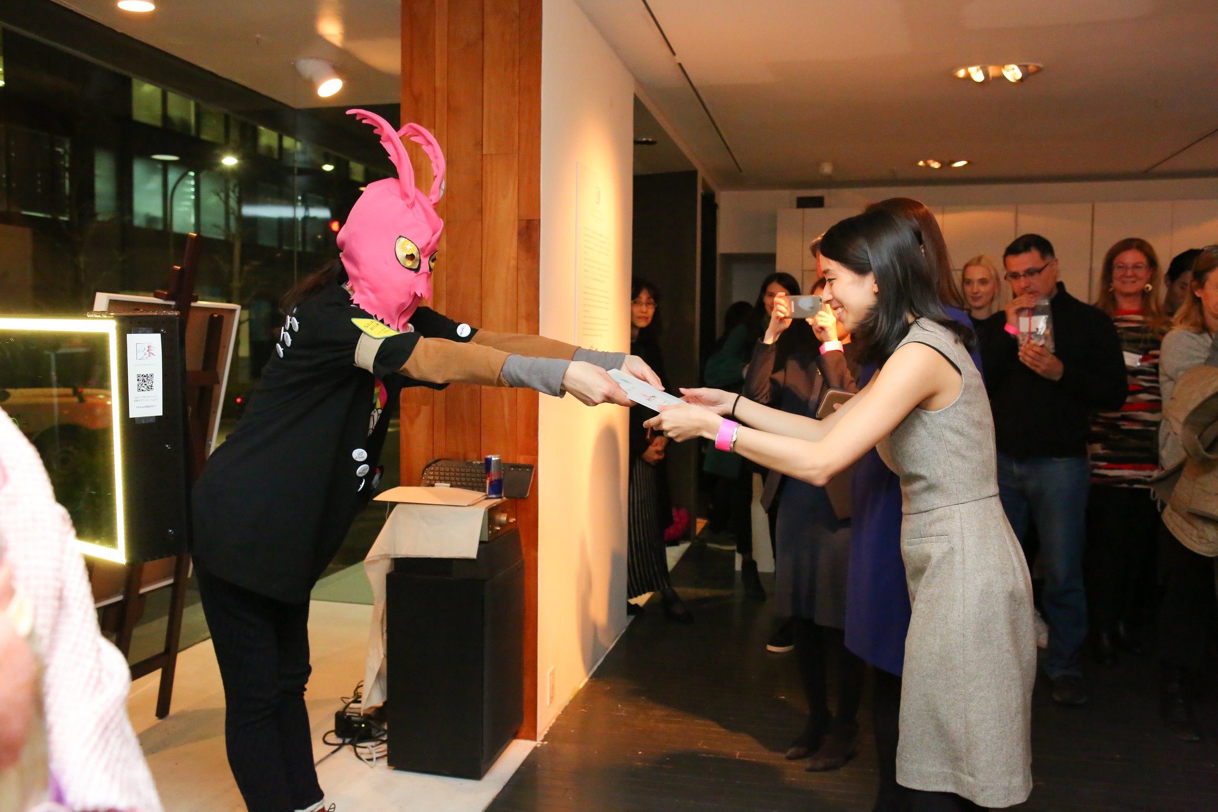 Blossom Blast show March 8 2017 at UltraSuperNew Gallery  TGT is giving the certificate to Lean In Tokyo.  photo by Maiko Miyagawa