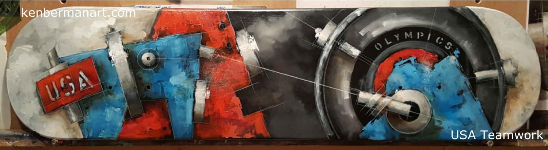 "Title: USA - Teamwork  Medium: Oil & Colored Pencil on Canvas  Size: 8"" x 32""  Copyright: 2017"