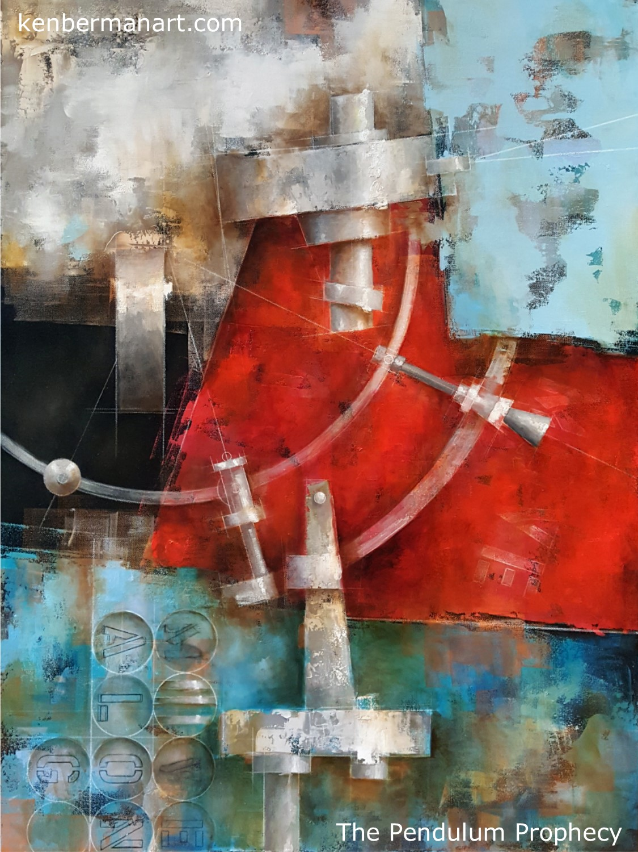 "Title: The Pendulum Prophecy  Medium: Oil & Colored Pencil on Canvas  Size: 40"" x 30""  Copyright: 2017"