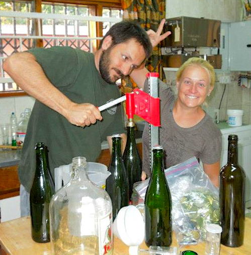 Above: Bottling a fermentation experiment when we looked a little younger