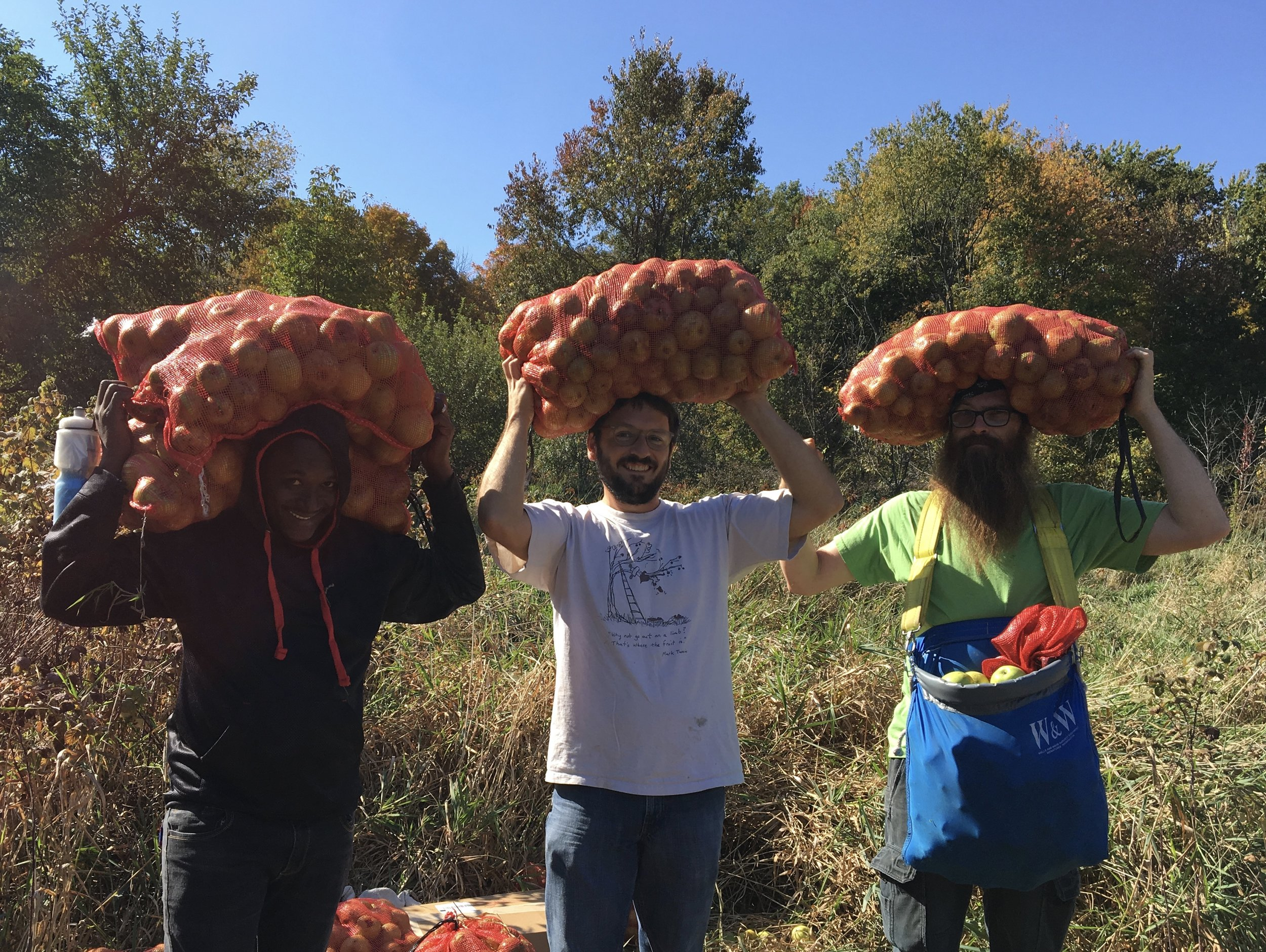 Above: Oseida, Matt, and Bergere - the day we hauled apples on our heads!