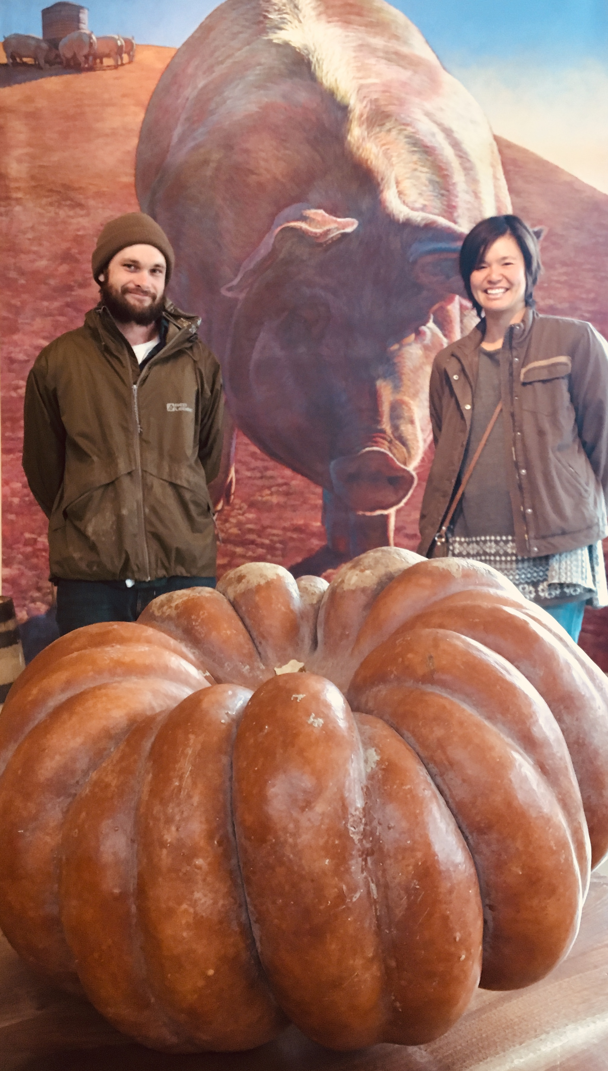 Above: Pat and Sarah from Squashington farm with their giant pumpkin that we cooked into pumpkin cobbler at Brix