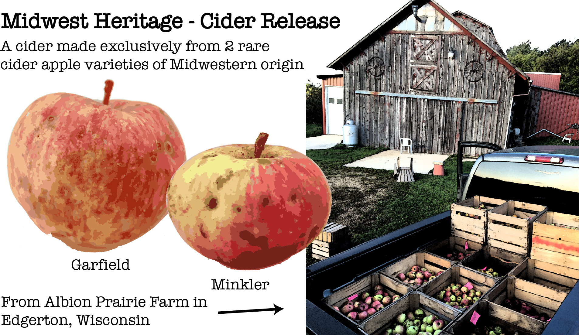 Above: Our Midwest Heritage cider release will be on Friday, August 9th with live music from Van Orman and Helwin