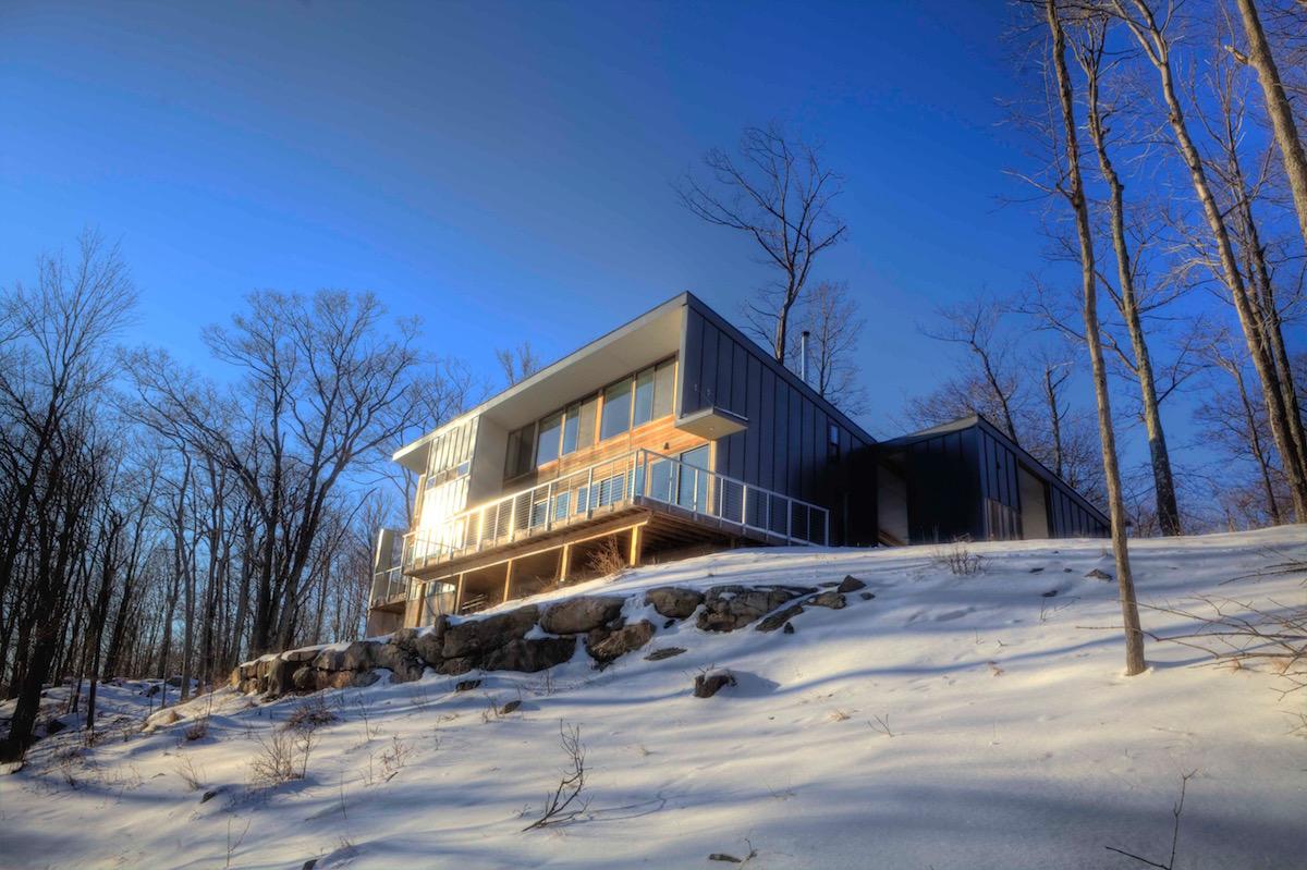 sun shining on modern home