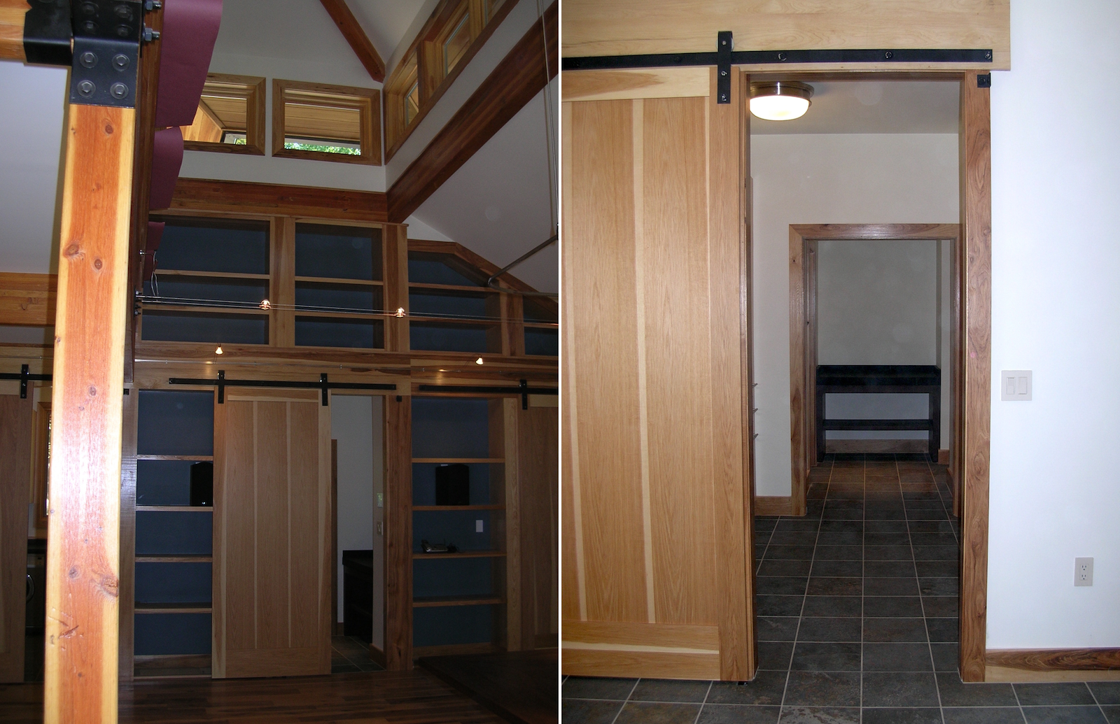 Price Inerior Built in Wood Shelving with Clerestory Above and Barn Door.png