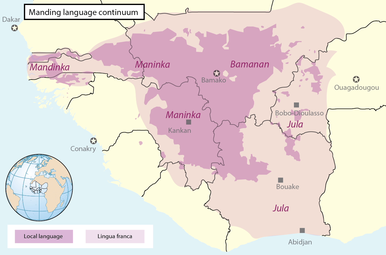 Map of the Manding language continuum that includes the approximate location of Jula- and Bambara-speaking regions