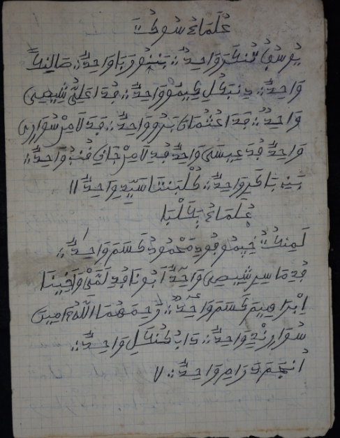 """""""A short Mandinka Ajami manuscript, which contains special prayers and techniques used to address specific problems.""""  Ngom, Fallou, Castro, Eleni, & Diakité, Ablaye. (2018). African Ajami Library: EAP 1042. Digital Preservation of Mandinka Ajami Materials of Casamance, Senegal. Boston: Boston University Libraries: http://hdl.handle.net/2144/27112"""