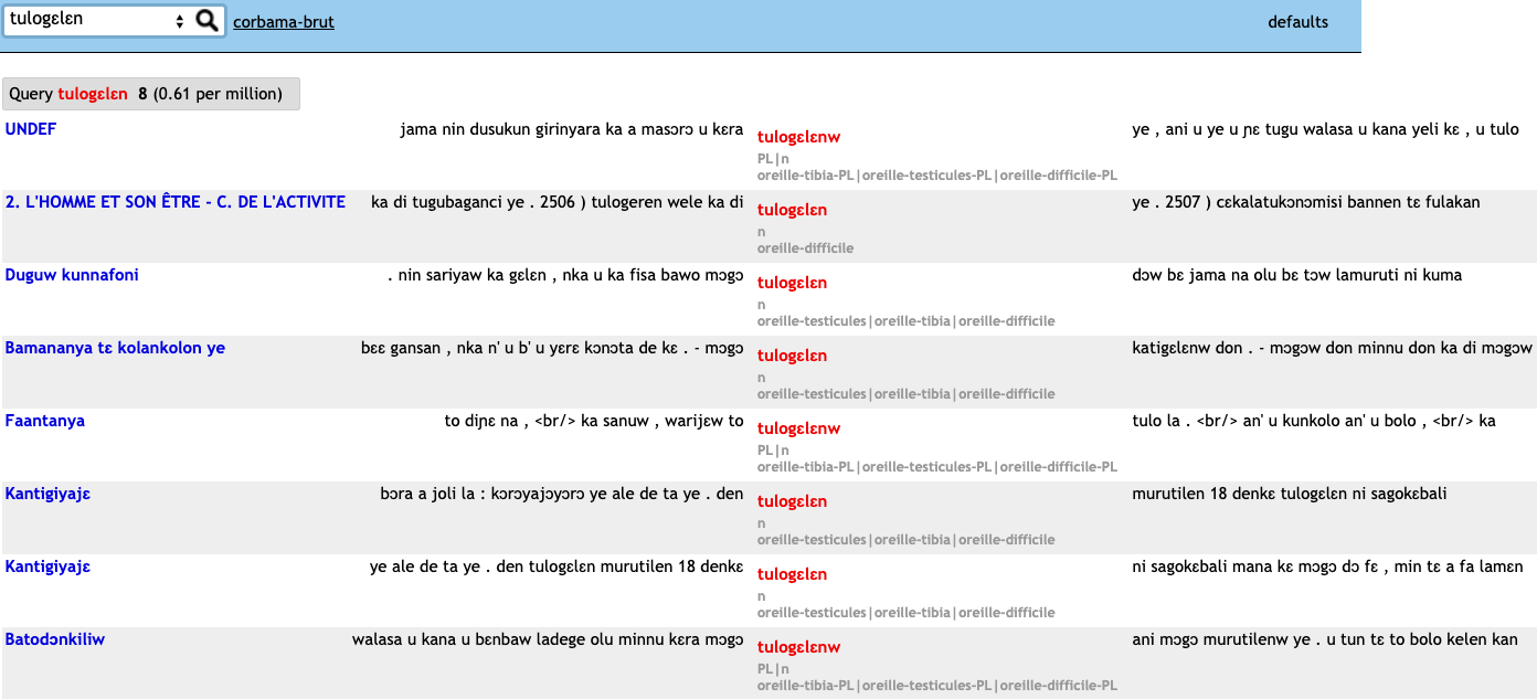 "Screenshot of the Bambara Reference Corpus search results for ""tulogɛlɛn"""