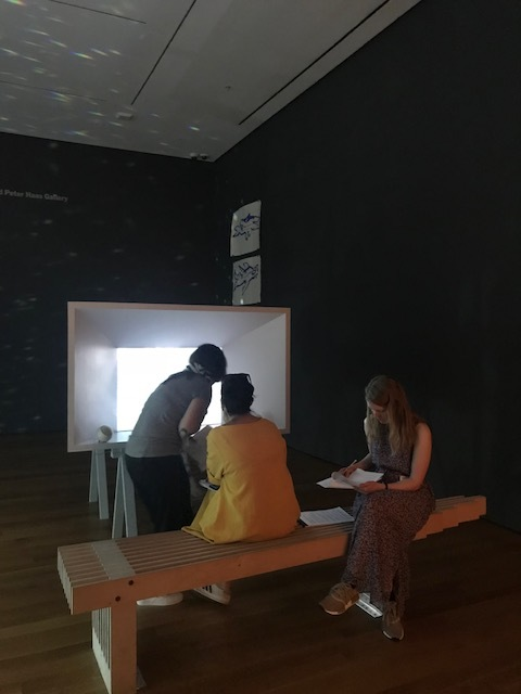 "Participants viewing ""Reanimation"" by Joan Jonas"