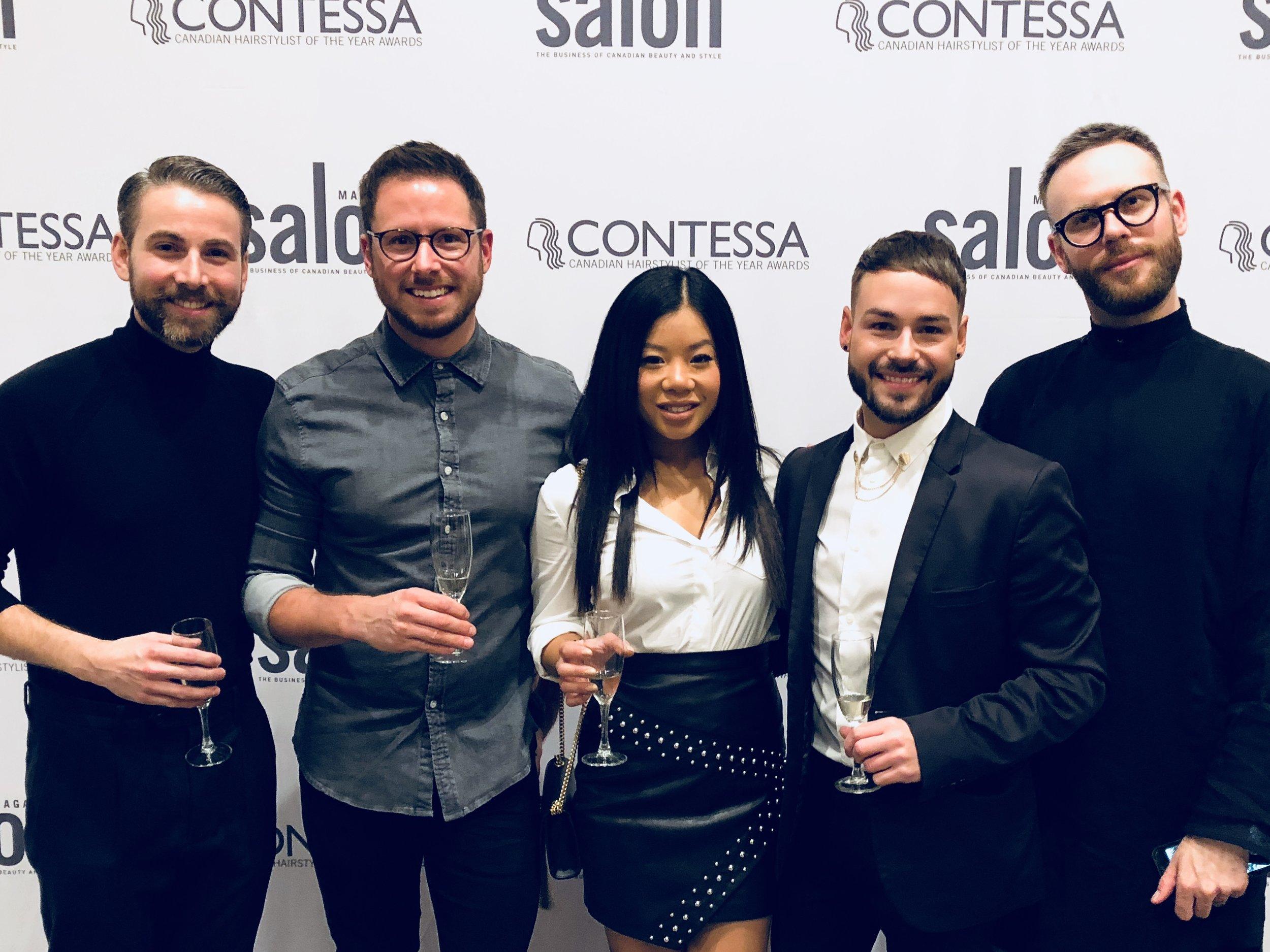 L'équipe du salon Brossés au gala du concours Contessa 2018