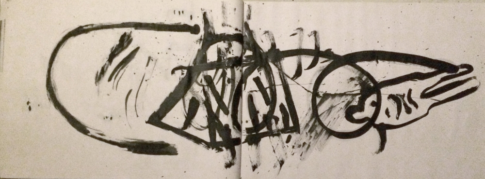 """Untitled, book #7. Ink on newsprint paper. 2015. 18"""" by 48""""  Private Collection."""