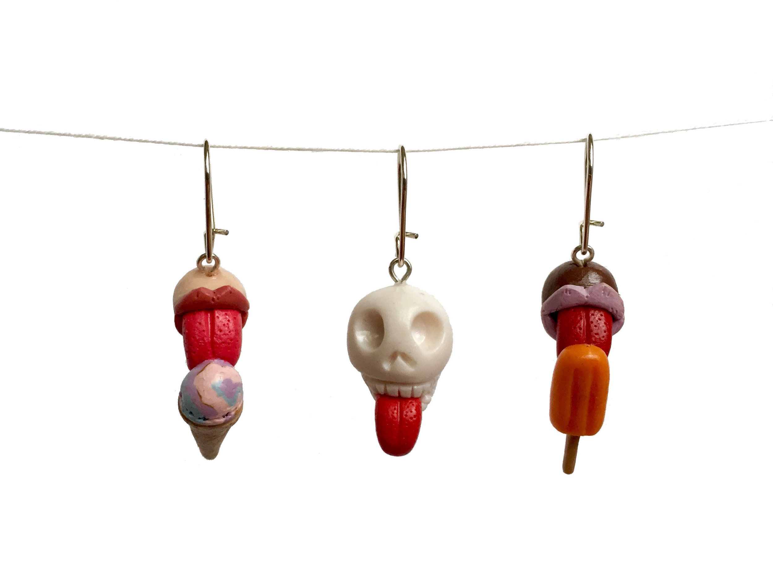 Ice Cream Skull Popsicle Tongue Polymer Clay Earring
