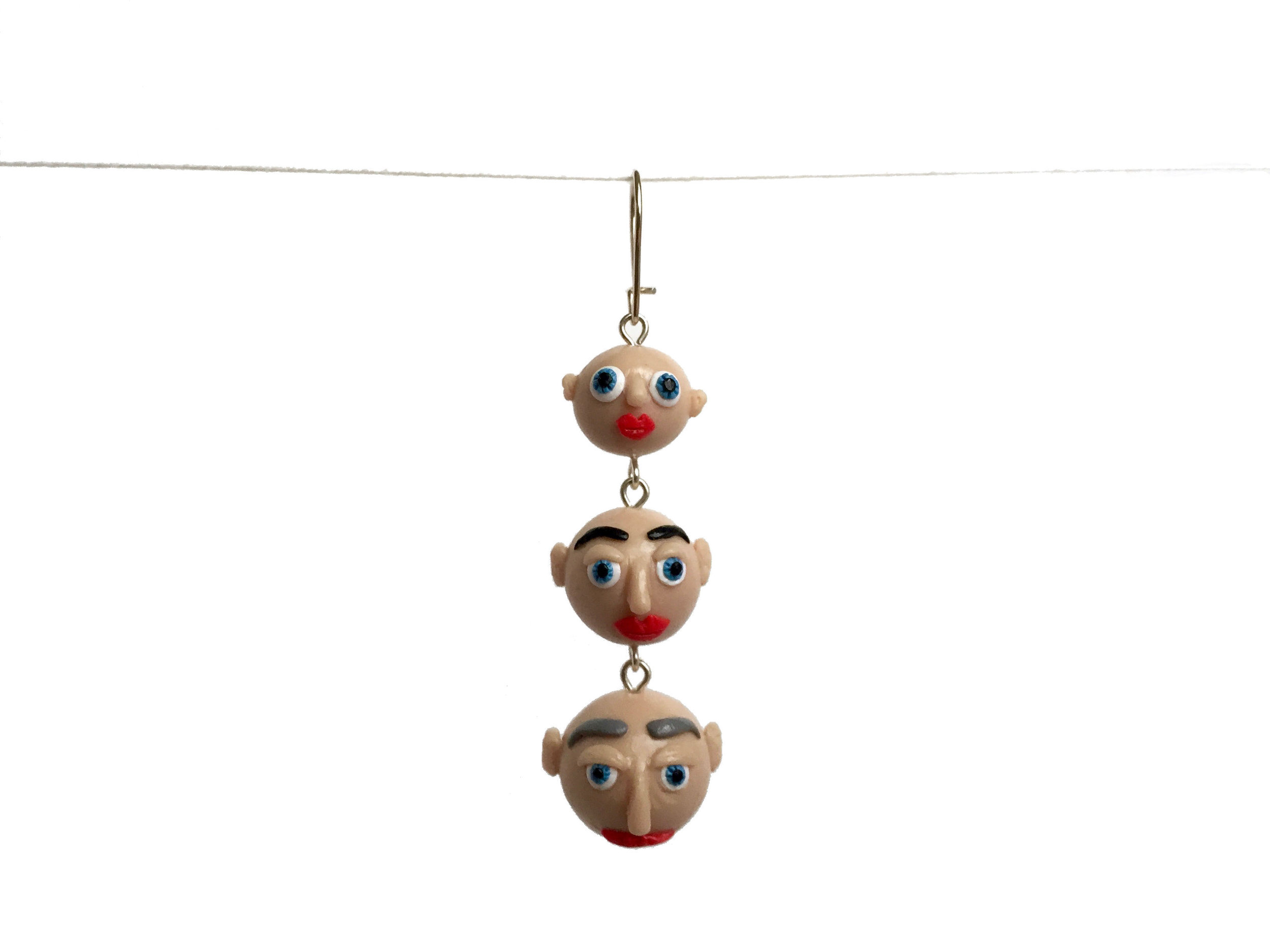 Heads Aging Heads Tiered Polymer Clay Earring