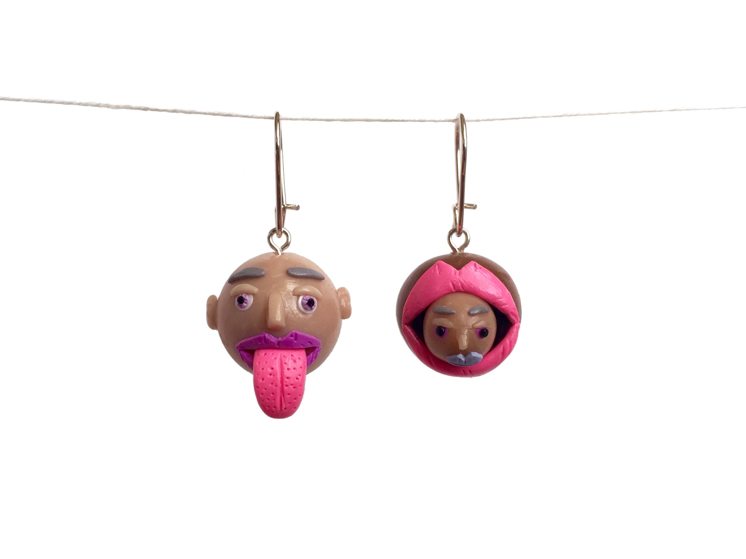 Head Tongue Mouth Polymer Clay Earring