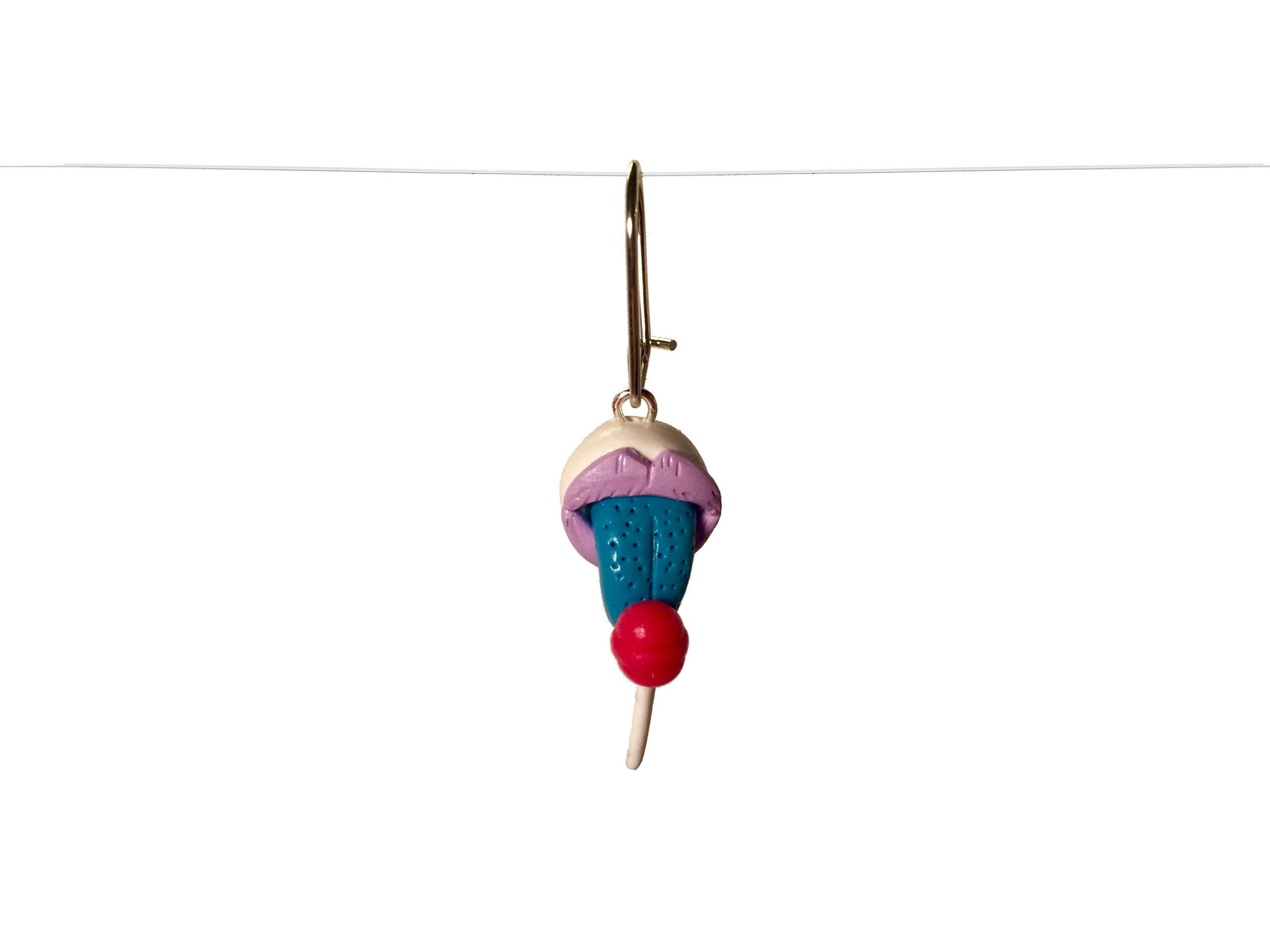 Lollipop Blue Tongue Polymer Clay Earring