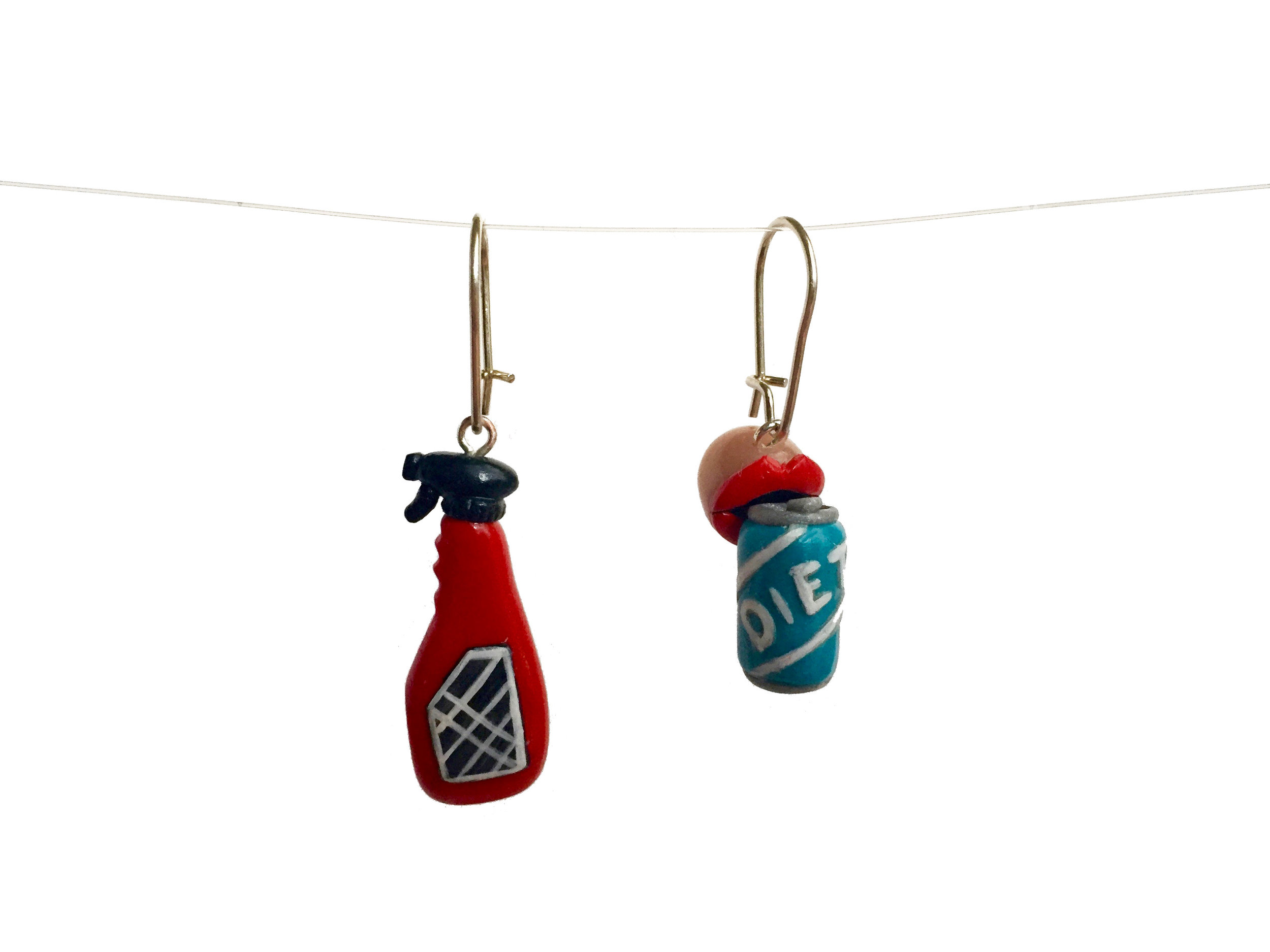 Diet Soda Spray Cleaner Polymer Clay Earring