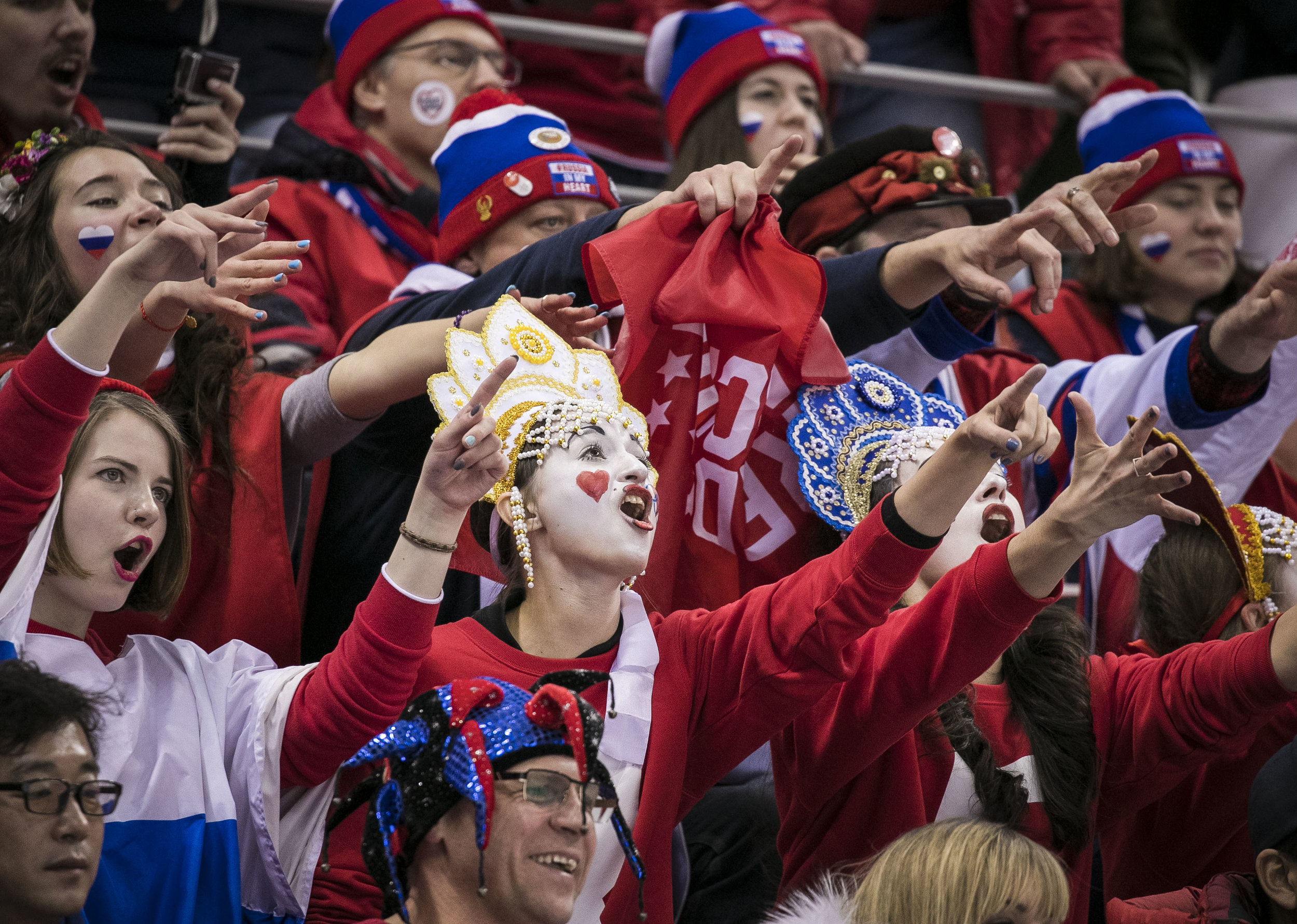 Olympic Athletes of Russia fans chant during a hockey game against USA, Feb. 17, Gangneung Hockey Centre. U.S. lost, 4-0 in a shut out against the Olympic Athlete's of Russia.
