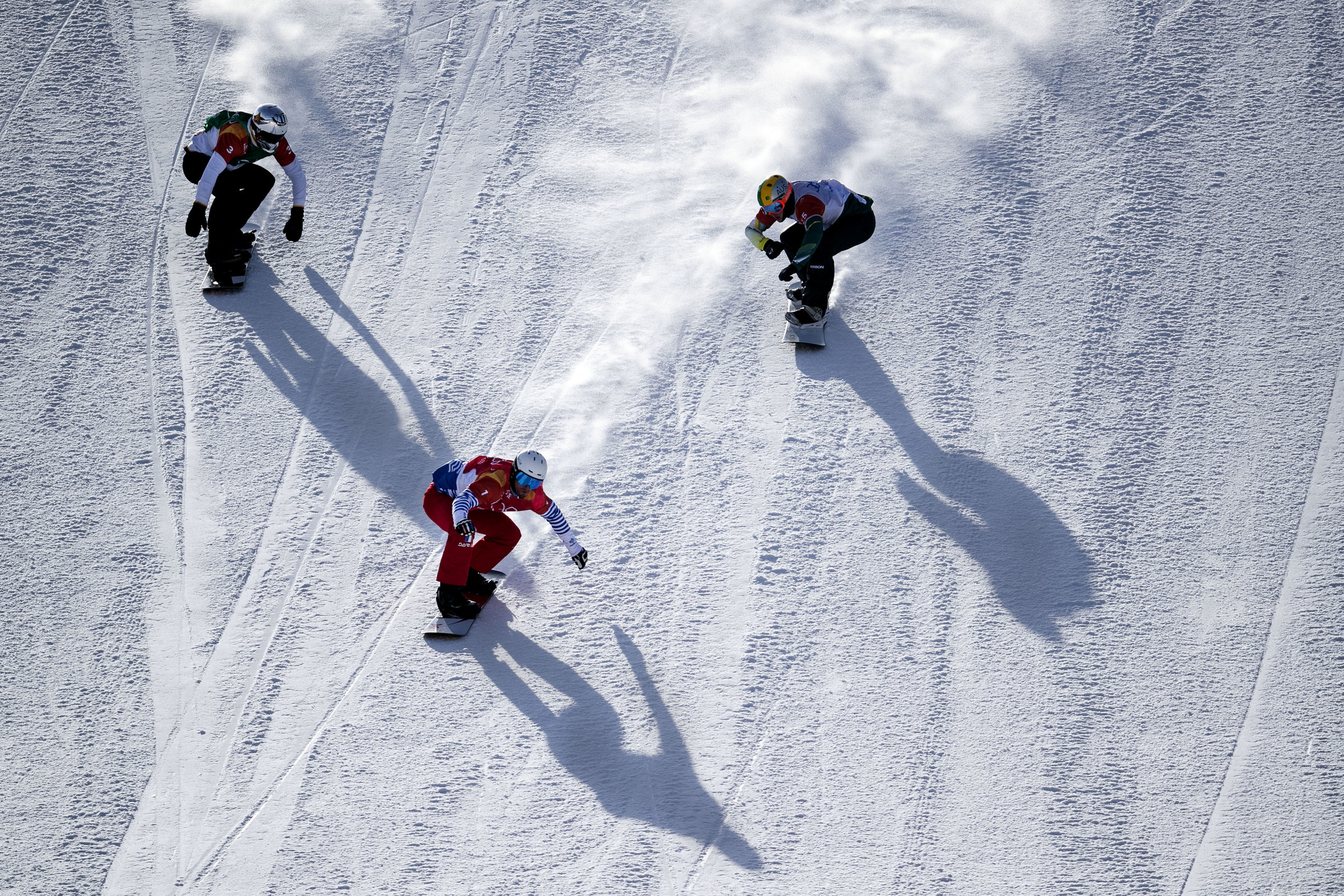 Athlete's gathered to compete in motocross like mash up of six snowboarders and a mix of obstacle courses, the Olympic event Snowboard Cross, Feb. 15, at Phoenix Snow Park.