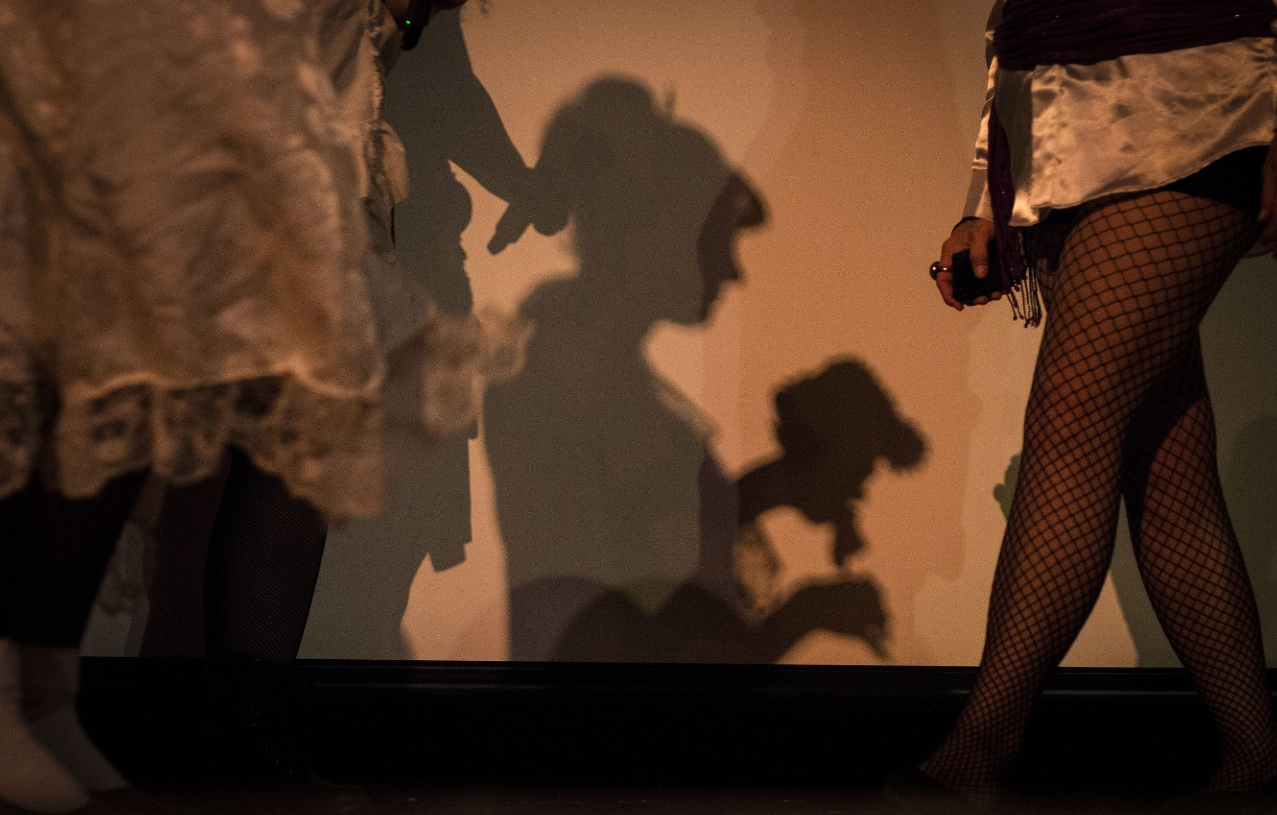 A shadow is casted on a screen as cast members and audience walk the stage at Cornerstone Center for the Arts before the start of The Rocky Horror Picture Show, Saturday, Sept. 29, in Downtown Muncie. This is Cornerstone's fifth showing of Rocky Horror.  Photos for Ball State Daily News