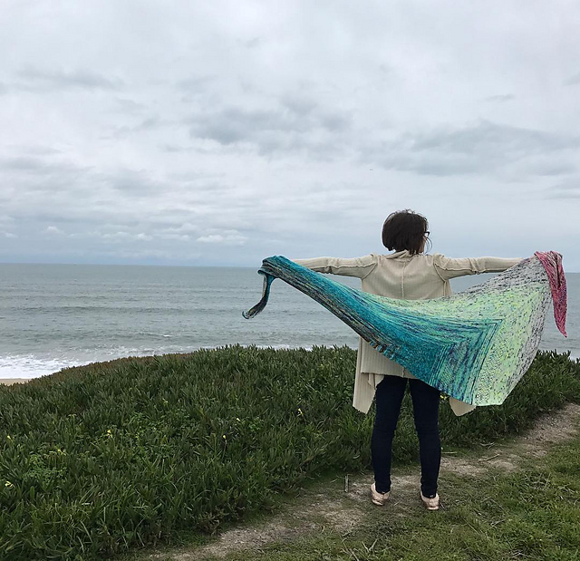 Me with my Find your Fade Shawl in Half Moon Bay, CA after visiting Stitches West in 2017