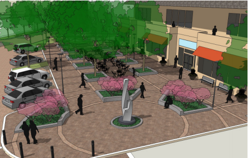 Pictured: Conceptual plaza plans from the Six Corners Master Plan