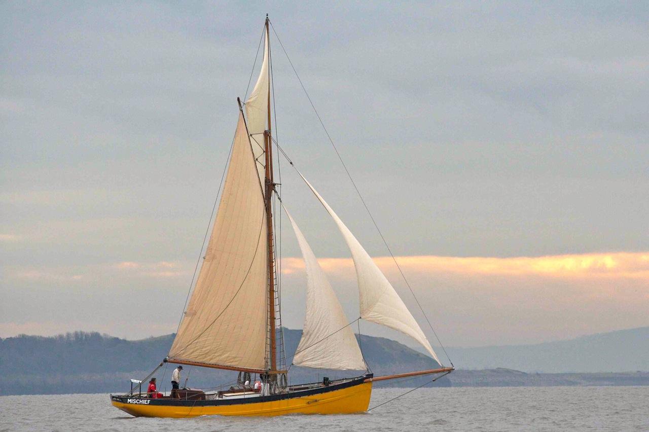 Replica of'Mischief' sailing in the Bristol Channel