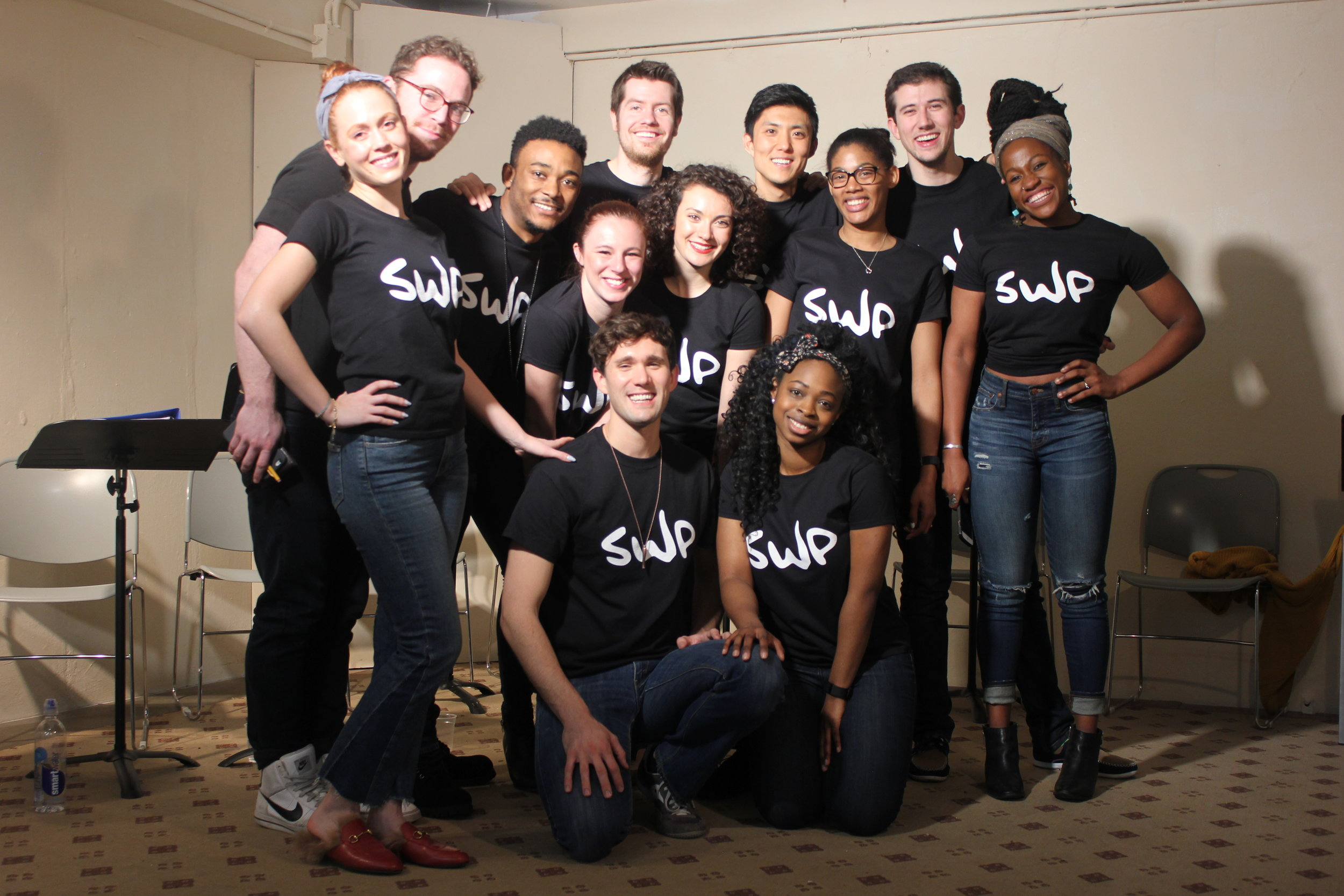 The Squeaky Wheelz Ensemble with guest artist and co-playwright of  Someone Dies at the End Matthew Consalvo. (Back Left to Right)Leah Bezozo, Matthew Consalvo, Freddie Fulton, Luke Hofmaier, Fang Du, Eddie Powers. (Middle Left to Right) Samantha Nicole Simone, Amy Miyako Williams, Tiffany Small, Hope Ruffin Ward. (Front Left to Right) Justin Michael Cooke & Alinca Hamilton.