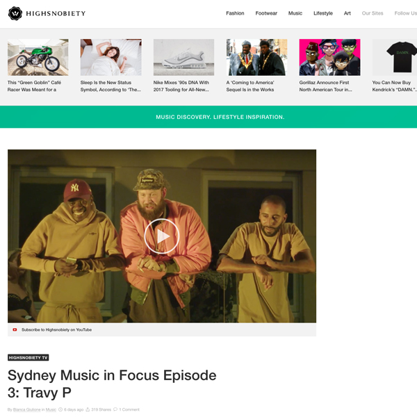 HighSnobiety 'Sydney Music In Focus' feature film - April 12th 2017