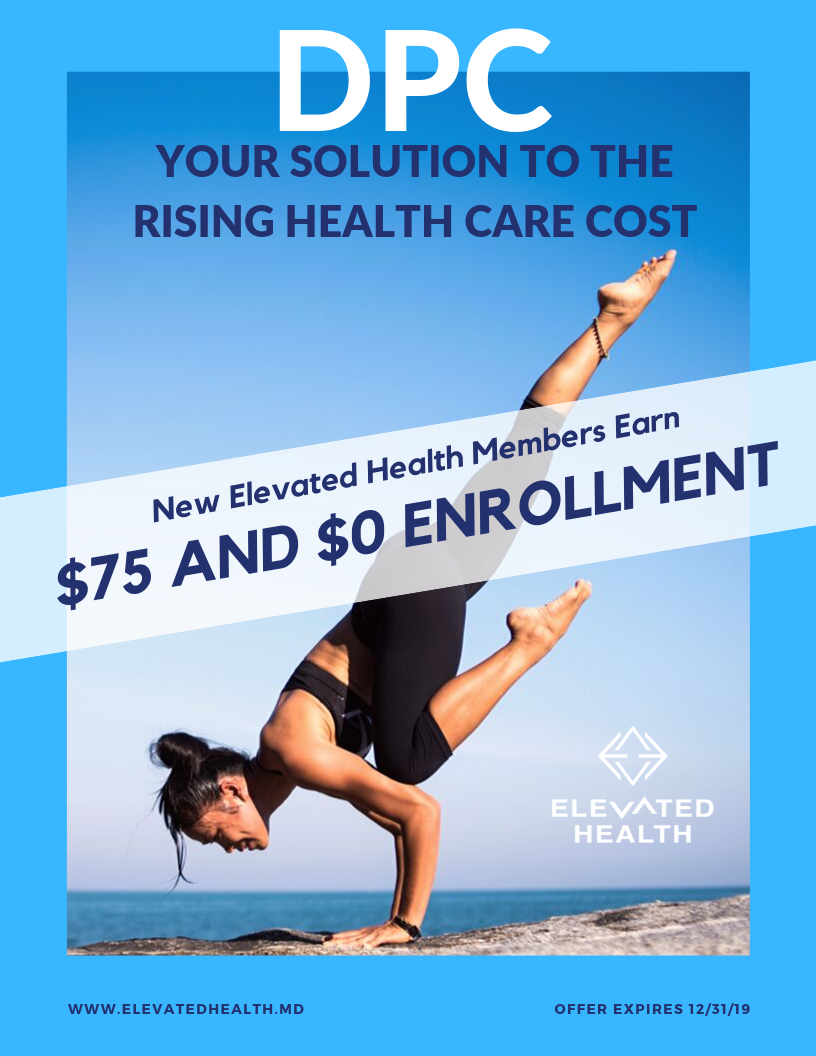 Elevated Health gift card credit of $75 valid 2 per household. Can only be redeemed once. Not valid for dependent & college student memberships. Questions? Contact us at    hello@elevatedhealth.md   .