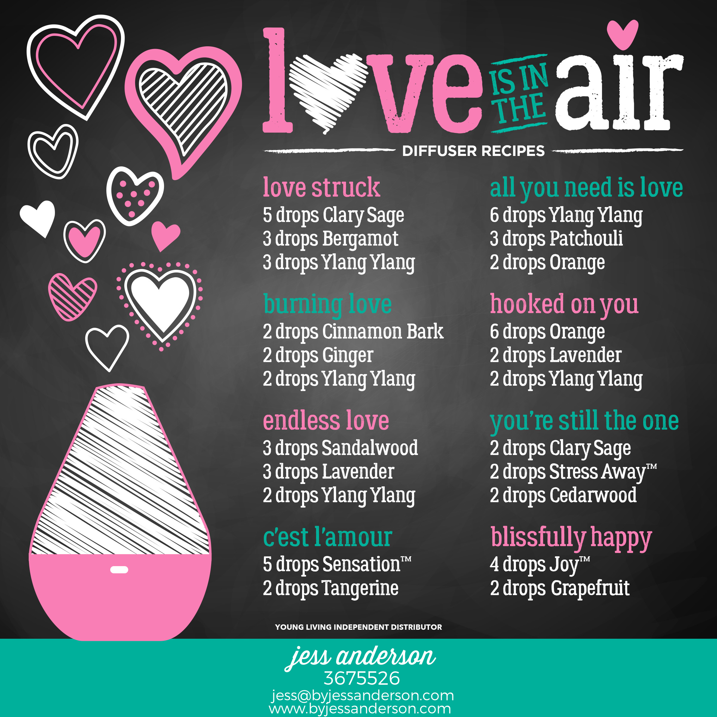 Love is in the Air - Diffuser recipes using Young Living essential oils