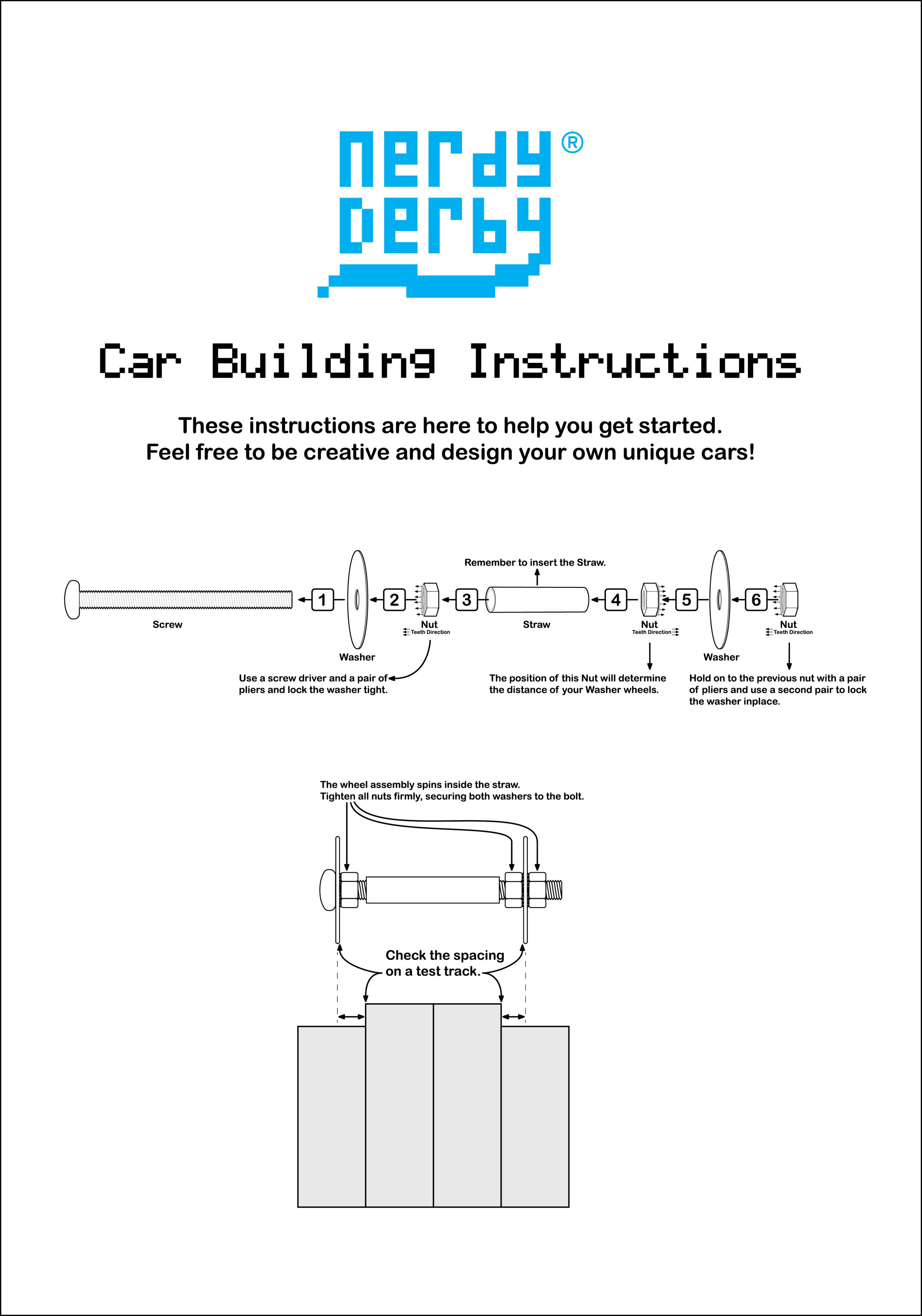 This is our basic car design using washer, lock nuts, bolts, drinking straws, and plywood.