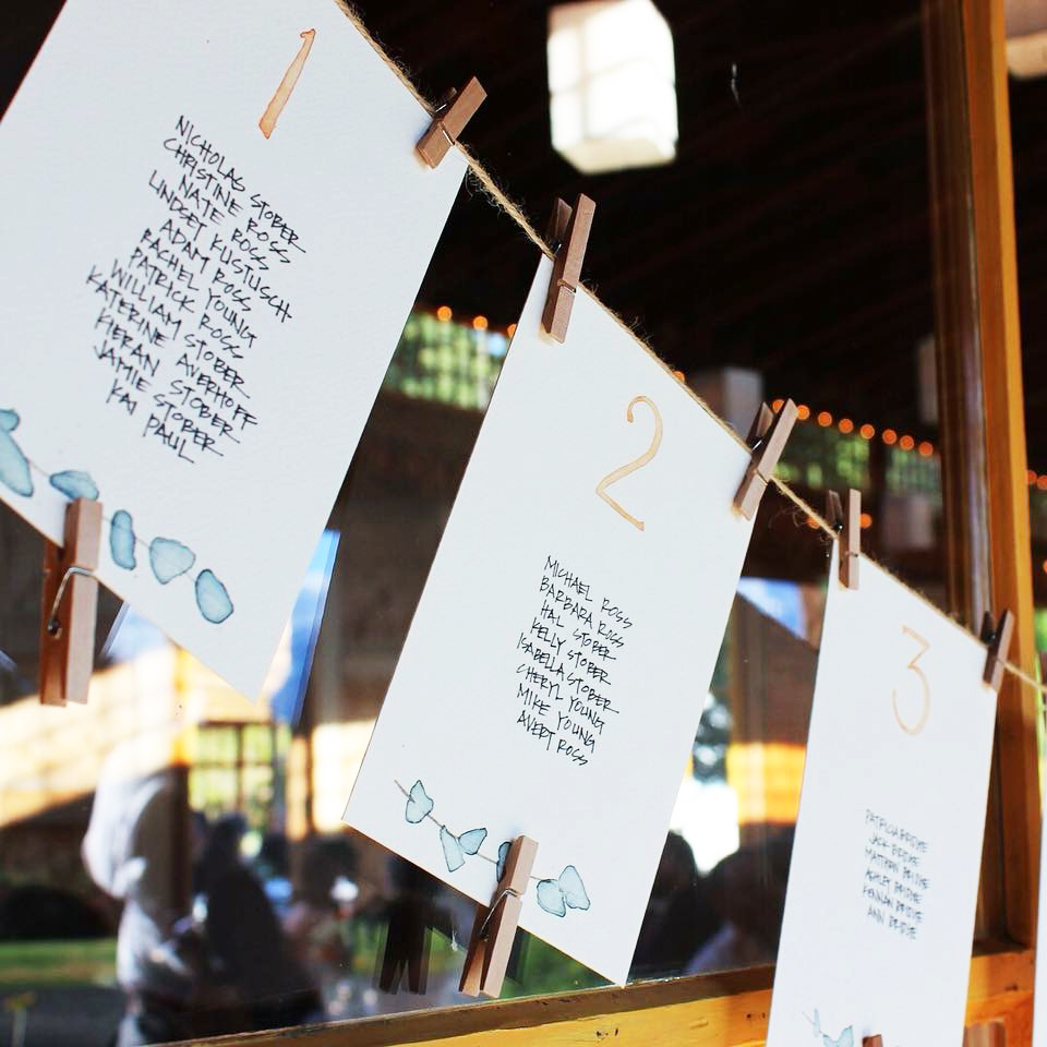 nick+christine   JULY 2018  Watercolor/script seating chart and table signage.  PHOTOGRAPHER: MELISSA STEENPORT  VENUE:  MT. HOOD ORGANIC FARMS