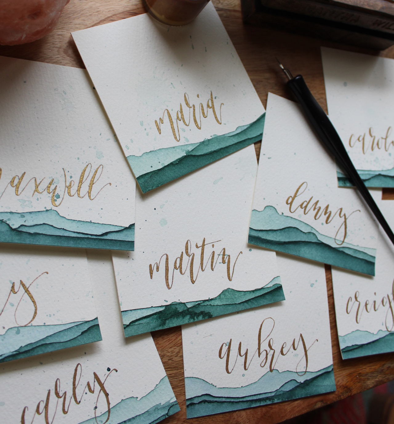 toby+brenna   JUNE 2018  Watercolor place cards and table signage.  CALLIGRAPHY: SAMI SHIROMA  PHOTOGRAPHER: SAMI SHIROMA  VENUE:  ACE HOTEL & SWIM CLUB