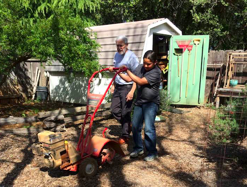 "Janet's son, Erick, purchasing his ""new"" Rototiller for his yard work business.  Erick saved up to buy a trailer, lawnmower,  yard tools, and more, for his entrepreneurial endeavor.  Using his profits to save for his future adventures.  I admire his passions and dreams, and how he always says ""when"" instead of ""if""."