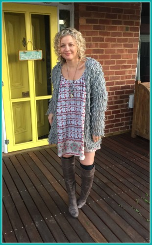 Short dress and boots and necklace April 2015