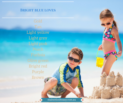 Bright blue children at the beach